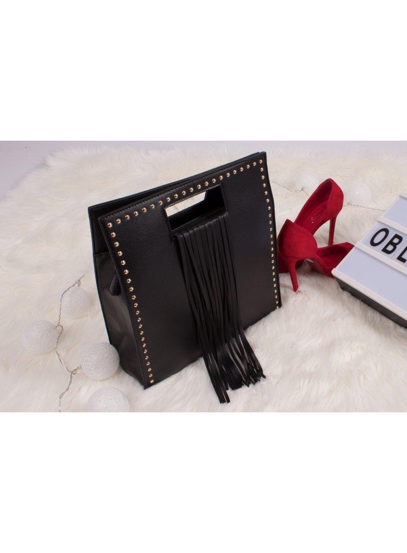 Čierna kabelka so strapcami