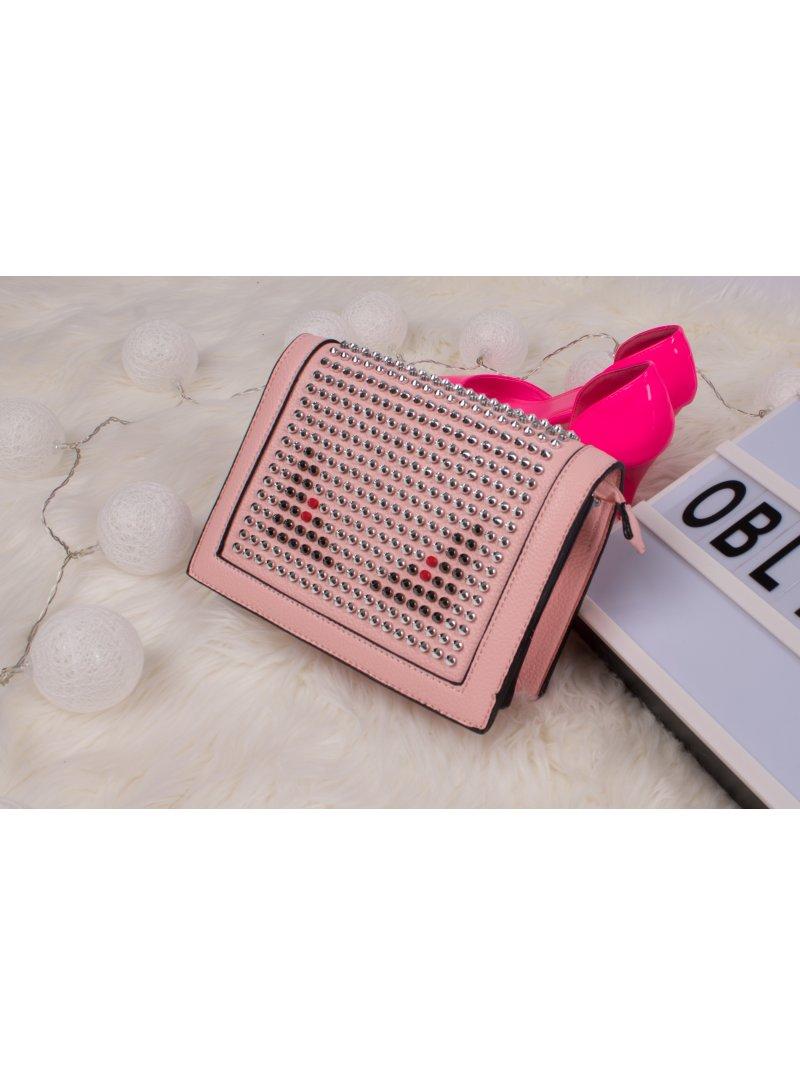 Crossbody vybíjaná ružová kabelka