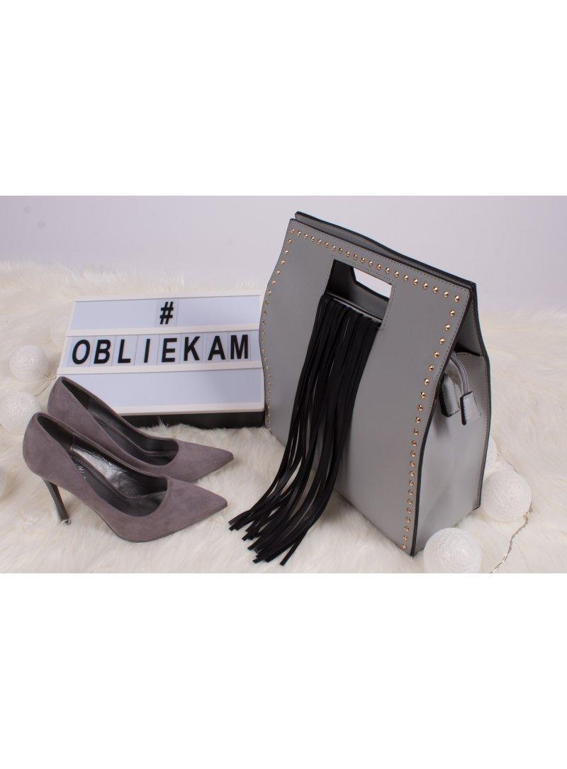 Sivá kabelka so strapcami