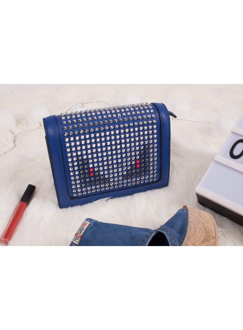 Crossbody vybíjaná modrá kabelka