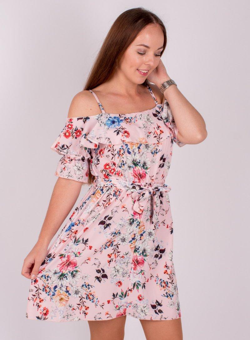 Ružové kvetované šaty Ria