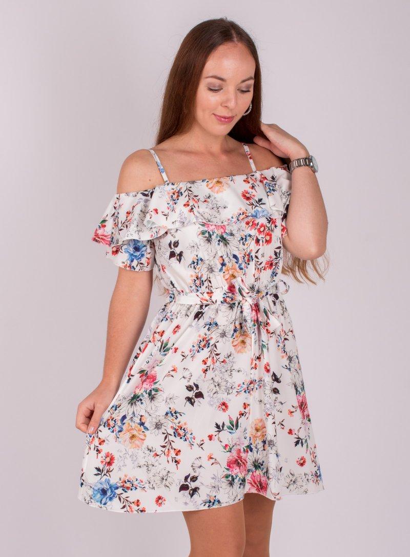 Biele kvetované šaty Ria