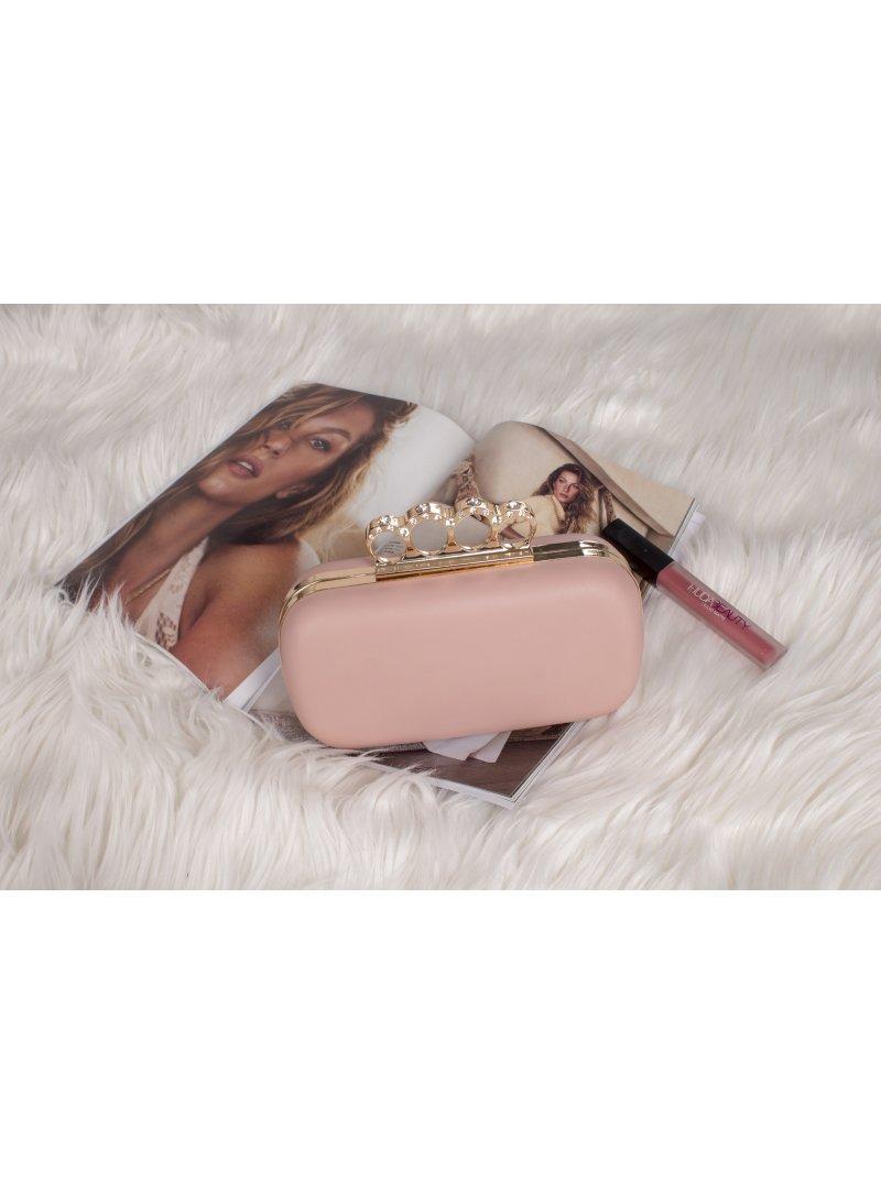 Ružová listová kabelka s prsteňmi